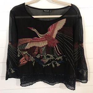 Nasty Gal Black Embroidered Bird Blouse Lace Hem